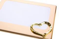 Frame, hartvorm die op wit wordt geïsoleerdg Royalty-vrije Stock Foto's