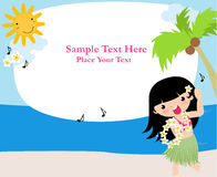 Frame with hawaii girl Royalty Free Stock Images