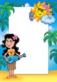 Frame with Hawaiian girl. Color illustration Royalty Free Stock Images
