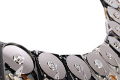 Frame HDD. Many Open Hard drives isolated on white background. Frame �re combined by a fan Royalty Free Stock Photos
