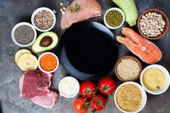 Frame of Healthy food Clean eating selection Including Certain Protein Prevents Cancer on a dark stone backgound Royalty Free Stock Image