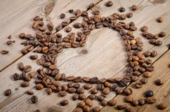 Frame- heart from coffee beans Stock Photo
