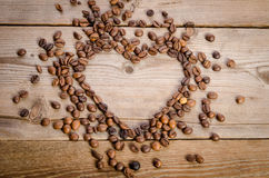 Frame- heart from coffee beans Royalty Free Stock Photo