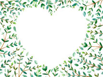 Frame of heart with eucalyptus branches. Green floral border.watercolor hand drawn illustration Stock Image