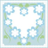 Frame with heart and flowers. On cyan background Royalty Free Stock Photography