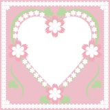 Frame with heart and flowers. On pink background Royalty Free Stock Photos