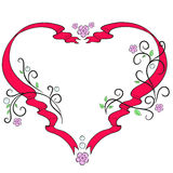 Frame heart for lovers. Vector pattern with ribbons and flowers Royalty Free Stock Photography