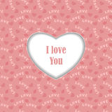 Frame from heart and pattern  on pink Royalty Free Stock Images