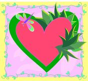 Frame of Heart, Plants, and Dragonfly Stock Photography
