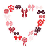 Frame heart of red ribbons Vector illustration. Stock Photo