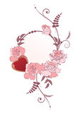 Frame with heart and  roses Royalty Free Stock Images