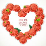 Frame in heart shape from fresh tomato slices spri Royalty Free Stock Image