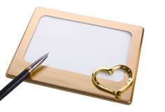 Frame, heart shape isolated on white. Background royalty free stock photo