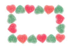Frame from heart shape jelly candy Royalty Free Stock Photography