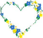 Frame in heart shape made of flowers Stock Photo