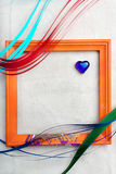 Frame. With heart and varicoloured stripes on canvas royalty free stock images