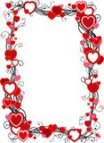 Frame with hearts. Vector ornate  frame with hearts  on white background Royalty Free Stock Photo