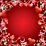 Frame with hearts Stock Image