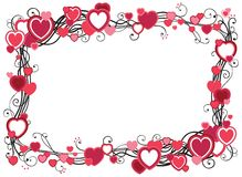Frame with hearts. Vector decorative frame with hearts  on white background with place for text Stock Images