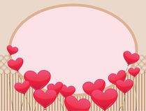 Frame with hearts balloons Royalty Free Stock Photo