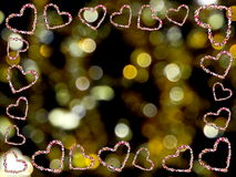 Frame of hearts. Beautiful frame of multi-colored hearts on a yellow background Stock Images