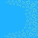 Frame of hearts on a blue background prints, greeting cards, invitations for holiday, birthday, wedding, Valentine's day, party. Vector illustration Stock Photos