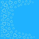Frame of hearts on a blue background prints, greeting cards, invitations for holiday, birthday, wedding, Valentine's day, party. Vector illustration Royalty Free Stock Image