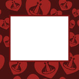 Frame with hearts and cats Stock Photos