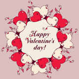 Frame of hearts for design. Valentines day message Stock Photo