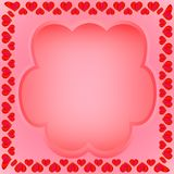 A frame of hearts with a field for text. A frame of hearts with a yellow stroke with a transparent field for text on a red background Royalty Free Stock Photo