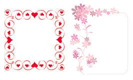 Frame with hearts and flowers Stock Images