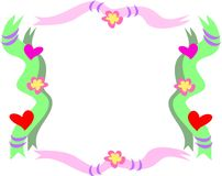 Frame of Hearts, Flowers, Ribbons, and Rings. This handy frame highlights your subject.  Includes decorations of hearts, ribbons, rings, and flowers Stock Images