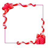 Frame with hearts and gift Royalty Free Stock Photography