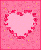 Frame of hearts on a pink background Royalty Free Stock Photos