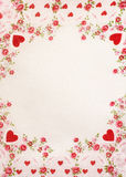 Frame of hearts and red pink flowers Stock Photos