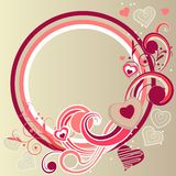 Frame with hearts and swirl elements Royalty Free Stock Photos