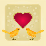 Frame hearts and two golden birds vector Royalty Free Stock Photo