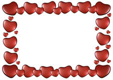 Frame of hearts on Valentine's Day Stock Photography