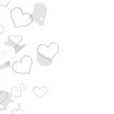 Frame from hearts in various positions Stock Photos