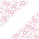 Frame of hearts on a white background prints, greeting cards, invitations for holiday, birthday, wedding, Valentine's day, party. Vector illustration Stock Image
