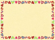 Frame of hearts on yellow background, noise, marble textured backdrop. Frame of hearts on yellow background. Perfect for romantic concept, Valentine`s Day royalty free illustration