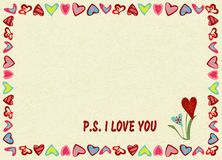 Frame of hearts on yellow background with text P.S. I love you , noise, marble textured backdrop. Frame of hearts on yellow background with text P.S. I love you stock illustration