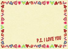 Frame of hearts on yellow background with text P.S. I love you , noise, marble textured backdrop. Frame of hearts on yellow background with text P.S. I love you royalty free illustration