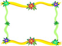Frame of Hibiscus and Ribbons Royalty Free Stock Photo