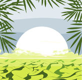Frame with hills landscape, grass, leaves, and big sun. Vector illustration. Royalty Free Stock Photos