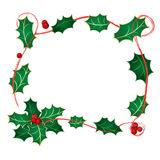 Frame with holly Stock Images