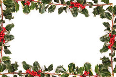 Frame of holly. With red berries royalty free stock photo