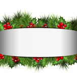 Frame with holly and pine on grayscale Stock Photos