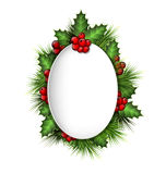 Frame with holly and pine on grayscale. Grayscale blank frame with holly sprigs and pine branches on grayscale background Stock Image