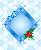 Frame with Holly plant, red ripe berries, bow Royalty Free Stock Images